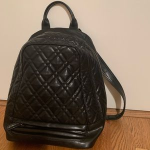 Zara black faux-leather quilted backpack